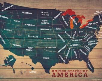 USA Wood Style Map