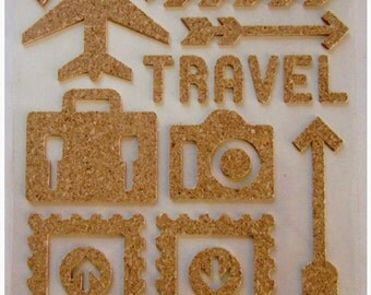 """Sticker in Cork - TRAVEL (plane, suitcase, """"Travel"""")"""
