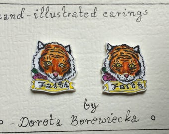 Hand ilustrated earings.tiger tattoo earings. Tiger earings.tiger sterling silver 925.stud earings.hand made.plastic .hand drawn.fair trade