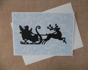 Santa Sleigh Christmas Card, Christmas Card, Christmas card set, Holiday Card, Holiday Card set