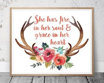 """Motivational quotes wall art print """"she has fire in her soul and grace in her heart"""" inspirational, Girl Wall Art, Watercolor Nursery Art"""