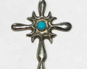 Sterling Silver & Turquoise Cross Pendant