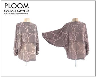Womans Flap Long Sleeve Top digital PDF sewing pattern. womans blouse, easy. By Ploom Patterns