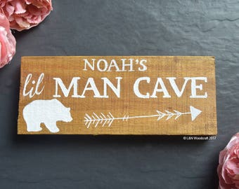 Little Man Cave | Personalised Wood | Rustic | Tribal | Plaque | Sign | Nursery | Playroom | Bedroom | Boys | Gift | New Baby | Bear Arrow