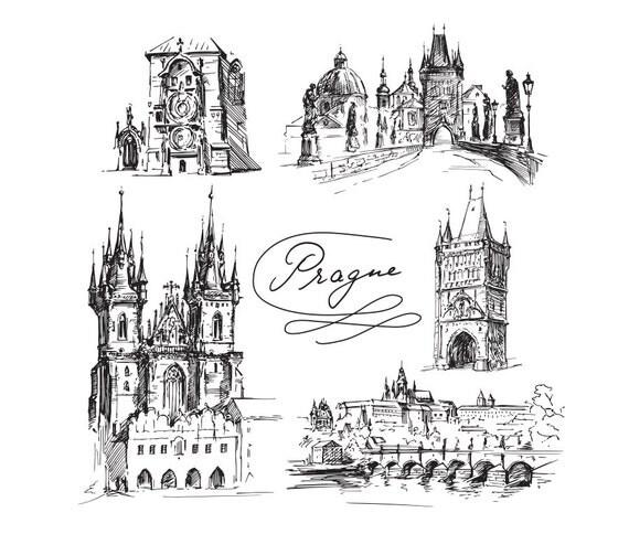 Edificios famosos de Praga dibujo dibujo cartel Clip Arte Digital