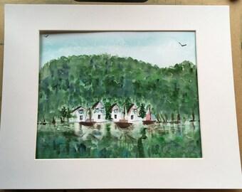 Scandanavian waterfront scene watercolour
