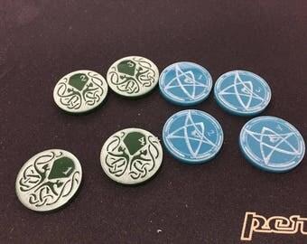 Arkham Horror LCG Action Markers, Arkham Horror Tokens,  Lovecraft, Cthulhu, Elder Sign, Eldritch Horror, Boardgame, Tableto, Custom tokens.