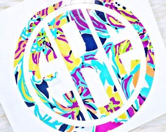 Circle Border Monogram Decal