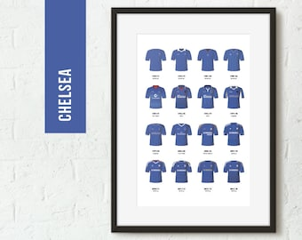 ICONIC Chelsea Football Kits Poster Art Print *FREE UK Delivery* Gift Idea