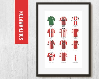 PERSONALISED Southampton Team Print, Football Poster, Football Gift, FREE UK Delivery