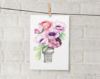 Small illustration cornet anemone / poster watercolor 5 x 7 / watercolor drawing / print floral design / Katrinn Illustration