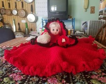 Large sleepy eyed crocheted doll