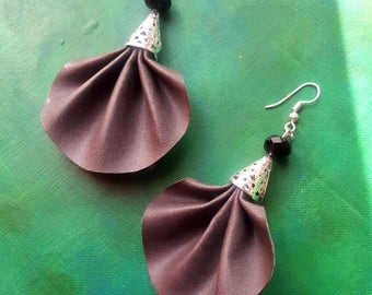 Synthetic leather fan earrings