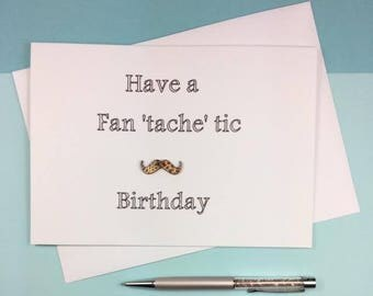 Funny Card For Him - Funny Birthday Card Boyfriend - Birthday Card Boyfriend - Moustache Card - Male Birthday Card - Funny Birthday Card