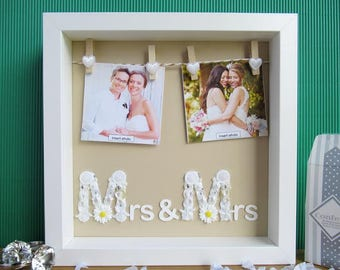 Wedding Presents For Gay Couples Uk : Mrs and Mrs Frame - Lesbian Wedding Gift - Lesbian Wedding - Lesbian ...