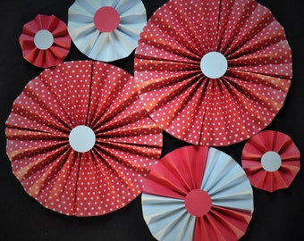 Heart Rosettes | Valentine's Day Paper Fans | Red and White Pinwheels