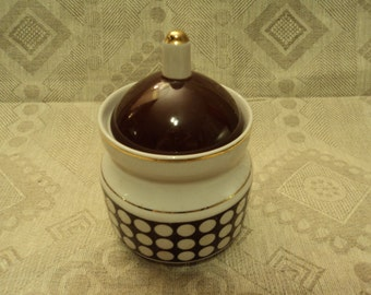 Soviet vintage sugar bowl with lid polka dot, polka dot, brown and white, Latvia, Riga, porcelain