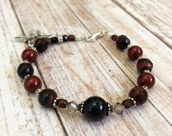 Red TigersEye gemstones with Swarovski Pearls Rosary Bracelet, Christian Jewelry