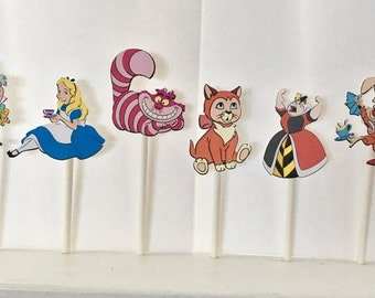 Alice and Wonderland Cupcake Toppers