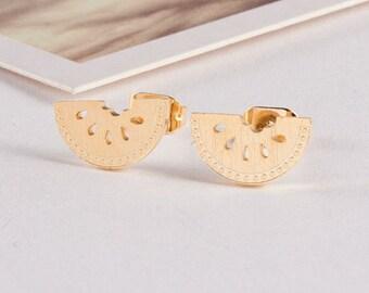 SALE! Lou gold plated 18K watermelon fruit was trendy jewelry earrings