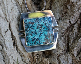 Great Chrysocolla 40 g 925 Sterling Silver Pendant