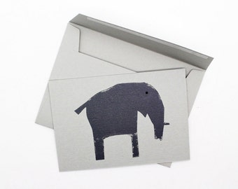 Elephant Note Cards. Set of 6. Thank You Note Cards. Children's Party Invites. Animal Cards (A7) with Envelopes. Silk-Screen Printed.