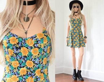 90s Floral Dress 90s Grunge Sunflower Dress Floral Mini Dress Rayon Dress 90s Dress Floral Dress Vintage 90s Clothing Black Floral Dress XS