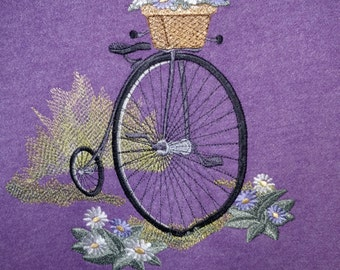 Penny-farthing with Flowers Embroidered  Sweatshirt