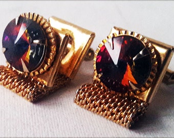 Vintage Cufflinks AB Aurora Borealis Mesh Wrap-around Gold Tone