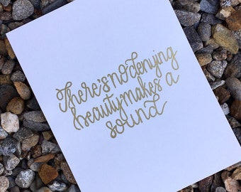 Custom Metallic embossed print | Modern Calligraphy| Favorite Quote Art| Personalized