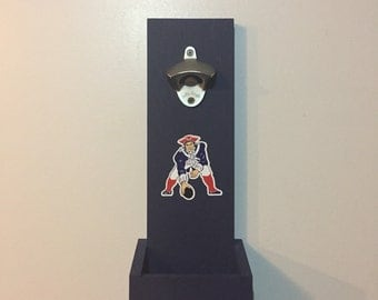New England Patriots Hanging Bottle Opener - Pat the Patriot logo / Wall Mounted Bottle Opener / Patriots Gift / Man Cave
