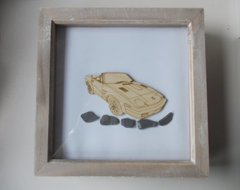 Triumph TR7 Picture -  Etched wood Triumph TR7 with Sea Slate in distressed wood frame