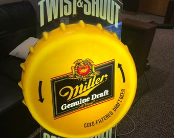 "Miller Genuine Draft large light up beer sign bottle cap Twist & Shout Cold Filtered 30""X20""X10"" beautiful condition"
