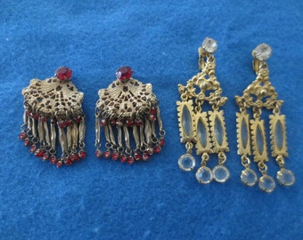2 Pair of Vintage Boho Belly Dancers Clip Earrings India Look