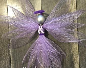All cancer awareness angel, lavender cancer awareness, angel decor, deco mesh angel