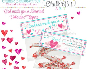 Scripture Treat Bag Toppers, God Made You a Smartie Valentine Favors, Valentine's Day. Valentines, Christian, Bible, PINK - PERSONALIZED