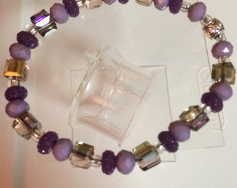 Purple mom & daughter bracelet