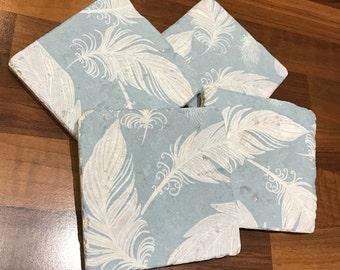 Duckegg Feather Coasters Handmade