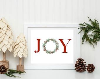 Joy Printable, Joy Sign, Christmas Printable, Festive Home Decor, Rustic Christmas Decor, Farmhouse Christmas Decor, Instant Download