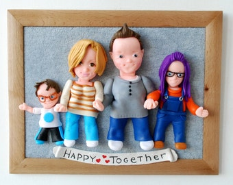 Personalized Portrait Custom Family Portrait 3d clay Portrait Mother's Day Gift for Family Polymer Clay Sign Family Picture Family sculpture
