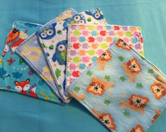 Blue themed baby washcloths