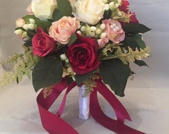 Silk Rose Wedding Bouquet, Artificial, Bride, Bridal, Wedding Flowers