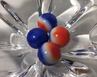 Vintage Patriot agot marbles. Red, white, and blue.