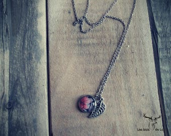 Chain, stainless steel, glass, cabochon, flowers, hibiscus, leaf, nature, hypoallergenic, lou wood