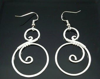 Handmade Sterling Silver Wire Wrapped Earrings