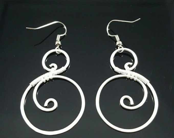 Handmade Sterling Silver Wire Wrapped Earrings