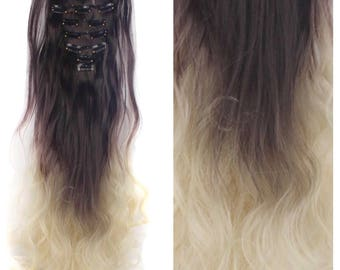 "Dark Brown to Bleach Blonde Hair Extensions Balayge Ombre Clip In Hair Extensions 24"" Wavy Curly Full Set Double Weft"