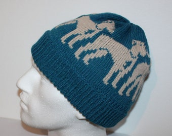 Petrol Blue with Beige Great Dane Dog Beanie Hat with or without Pompom