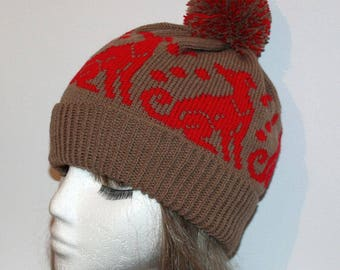 Chocolate Brown with Red Whippets or Greyhounds Beanie Hat - with or without pompom option