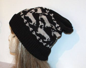 Black with Beige Dachshunds and Bones Slouchy Beanie Hat